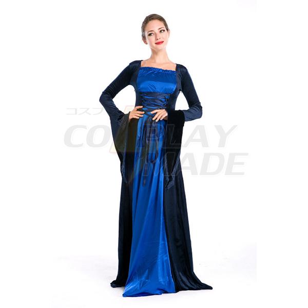 European Royal Vintage Medieval Renaissance Blue Dress Halloween Cosplay Costume