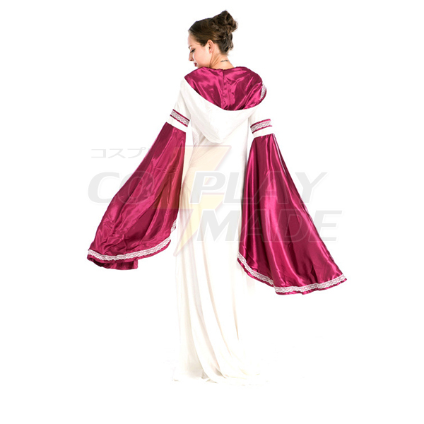 European Royal Vintage Medieval Renaissance Rose Red Dress Halloween Cosplay Costume