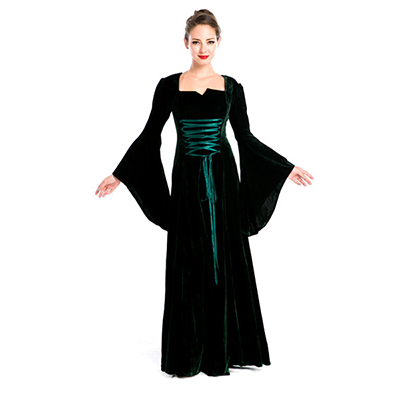 Vintage Medieval Renaissance Victorian Black Dress Halloween Cosplay Costume