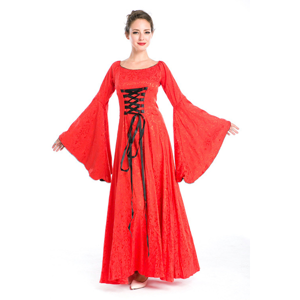 Vintage Medieval Renaissance Victorian Red Dress Halloween Cosplay Costume