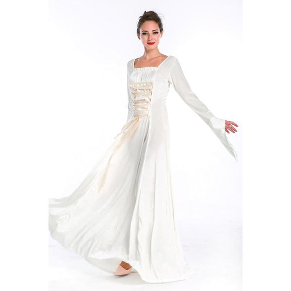 Vintage Mittelalterlich Renaissance Victorian Weiß Kleider Halloween Faschingskostüme Cosplay Kostüme
