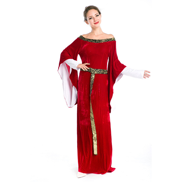 Medieval European Women Vintage Court Dress Cosplay Halloween Party Costume Ladies