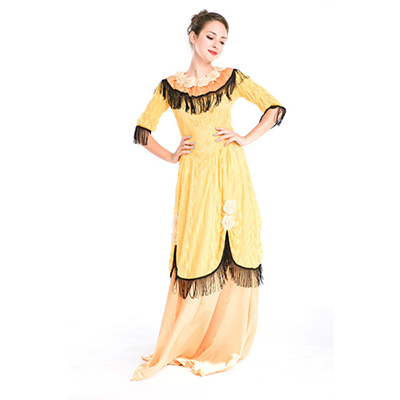 Ladies Vintage Court Uniform Cosplay Halloween Party Costume Yellow