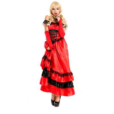 Flamenco Clothes Modern Dance Costume Red Dress Halloween Cosplay Dress