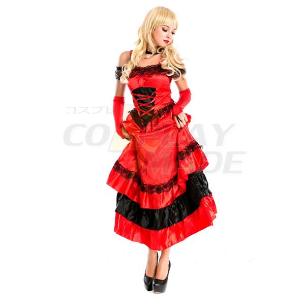 Flamenco Clothes Modern Dance Costume Red Dress Halloween Cosplay Dress