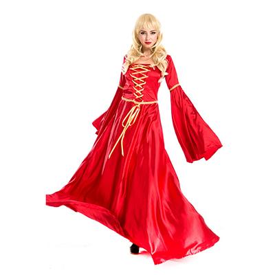 Fest Cosplay Century Europeisk Aristocracy Klänningar Halloween Röd Kläder