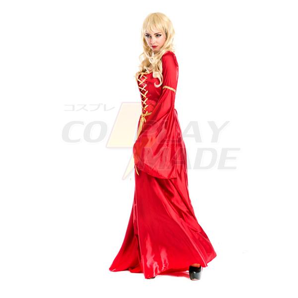 Komsammen Cosplay Century Europæisk Aristocracy Kjoler Halloween Rød Tøj