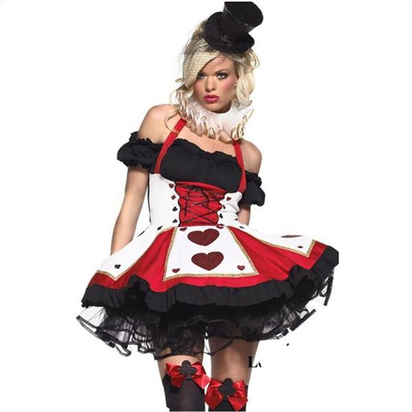 Sexy Alice im Wunderland Herzkönigin Kostüme Halloween Cosplay Kostüme