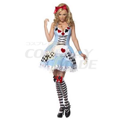 Feber Miss Wonderland Kjoler Halloween Cosplay Kostume Fastelavn