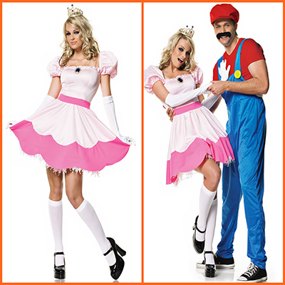 Super Mario Bros.Princess White Dress Halloween Cosplay Costume