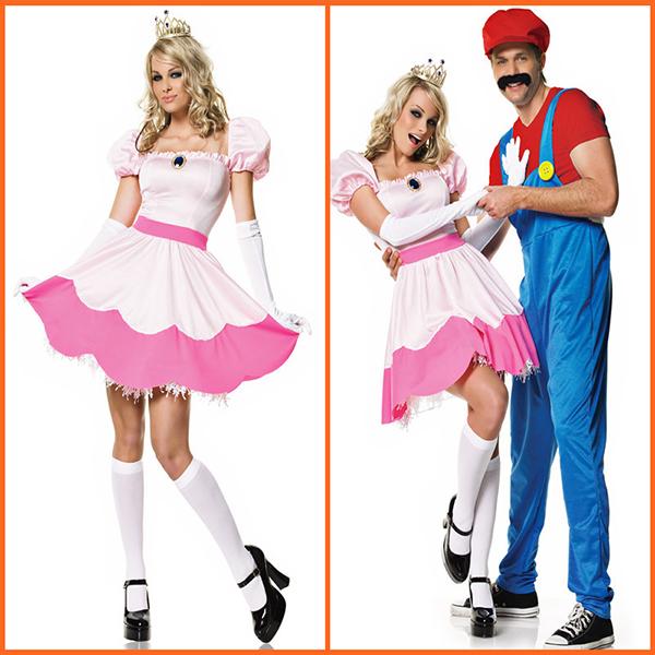 Super Mario Bros.Prinzessin Weiß Kleider Halloween Faschingskostüme Cosplay Kostüme