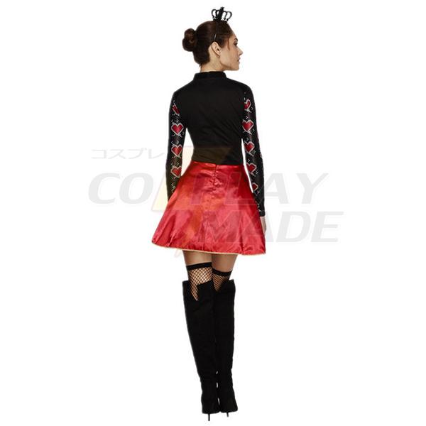 Dronning af Hjerter Fancy Kjole Halloween Cosplay Kostume Fastelavn