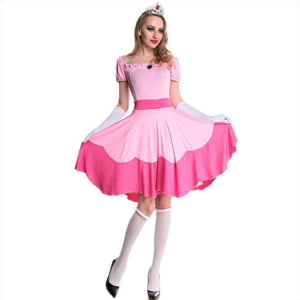 Super Mario Bros.Prinsesse Boldkjole Halloween Cosplay Kostume Fastelavn