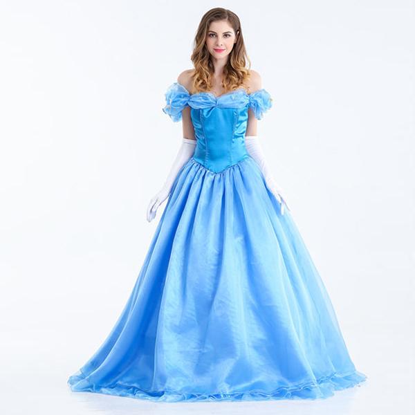 Blau Märchen Prinzessin Kleider Ballkleid Halloween Faschingskostüme Cosplay Kostüme