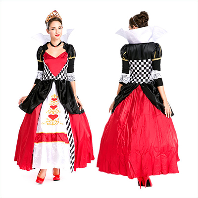 Popular Alice in Wonderland Red Dress Queen of Hearts Halloween Costume