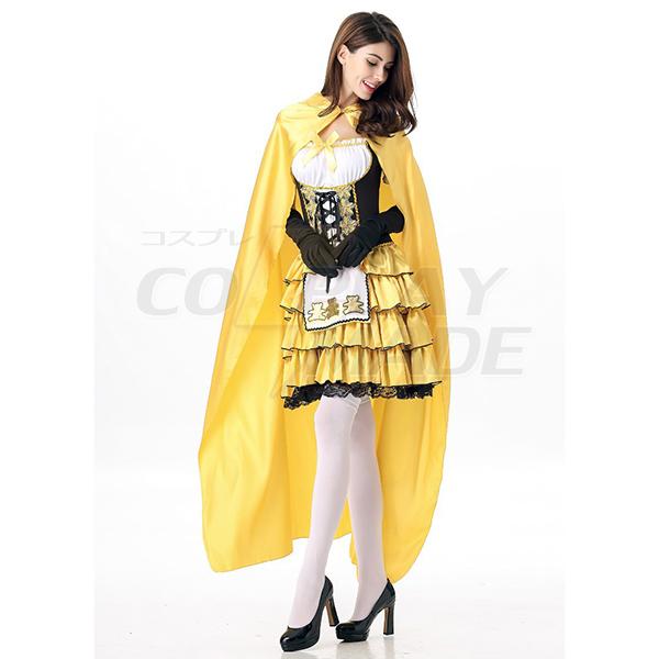 Fairy Tale Costume Halloween Cosplay Princess Dress Yellow