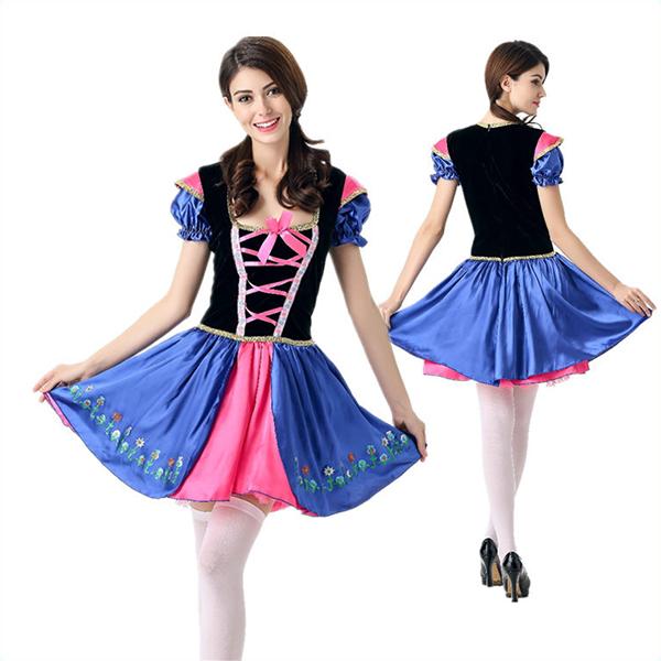 Märchen Kostüme Halloween Cosplay Kostüme Prinzessin Kleider Blau