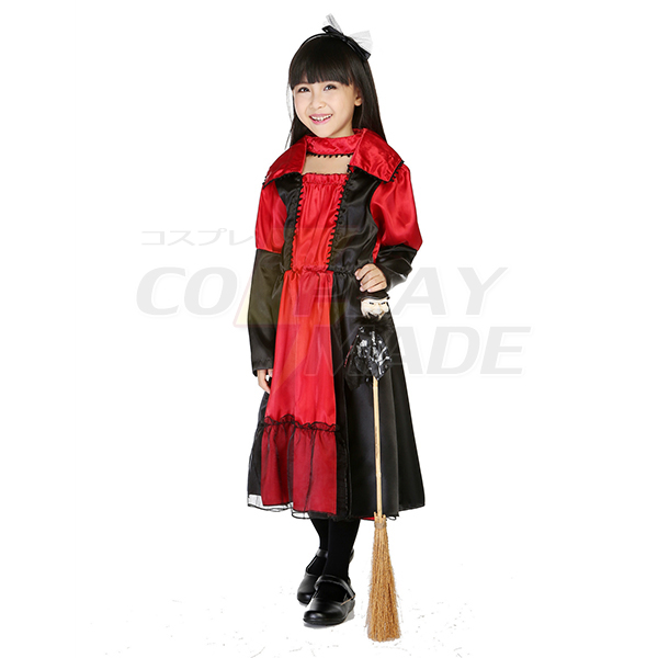 Kids Fairy Tales Queen Dress Red Halloween Cosplay Costume
