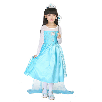 Kids Girls Halloween Costume Princess Trailing Dress & Crown & Sceptre Set Cosplay Stage