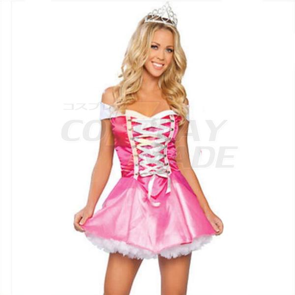Adult Sexy Sleeping Beauty Red Dress Halloween Cosplay Costume