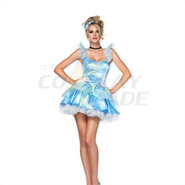 Voksen Sexet Sovende Skønhed Blå Kjoler Halloween Cosplay Kostume Fastelavn