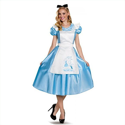 Adult Classic Alice in Wonderland Maid Dress Halloween Cosplay Costume