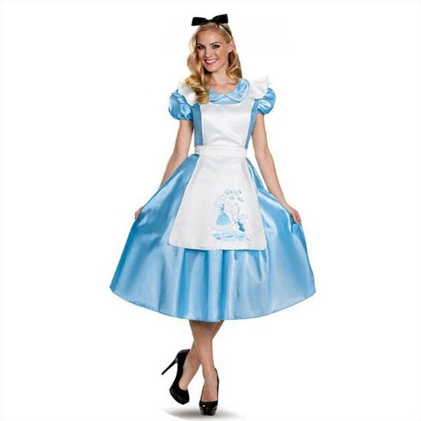 Erwachsene Classic Alice im Wunderland Maid Kleider Halloween Faschingskostüme Cosplay Kostüme