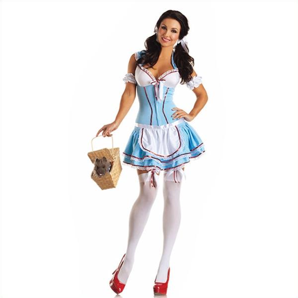 Adult Classic Alice in Wonderland Maid Short Dress Halloween Cosplay Costume
