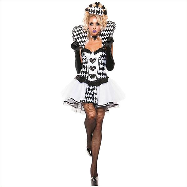 Populære Spilkort Hvid Kjoler Halloween Cosplay Kostume Fastelavn