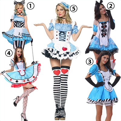 Popular Pretty Alice in Wonderland Ladies Dress Womens Halloween Costume