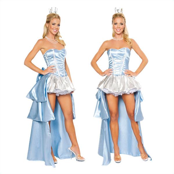 Damen Sexy Cinderella Blau Kleider Cosplay Kostüme Halloween Kostüme