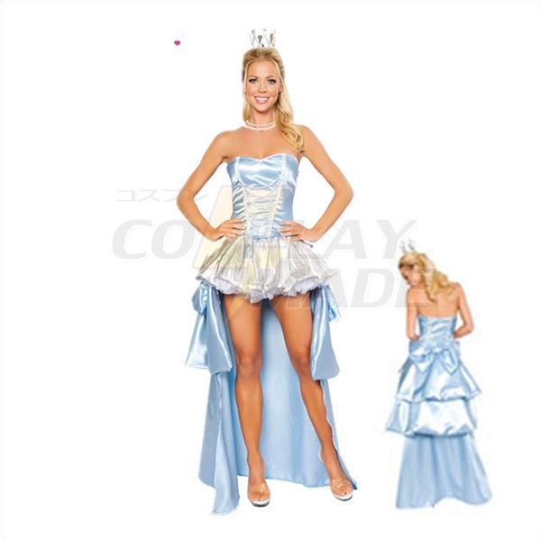 Womens Sexy Cinderella Blue Dress Cosplay Halloween Costume