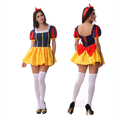 Womens Vintage Snow White Queen Halloween Costume Yellow