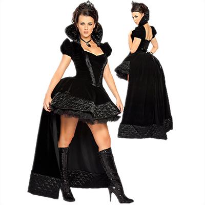 Christmas Kostüme Short Hülse Evil Königin Halloween Schwarz Kleider