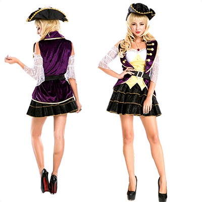 Sexy Pirate Costume Women Halloween Purple Dress
