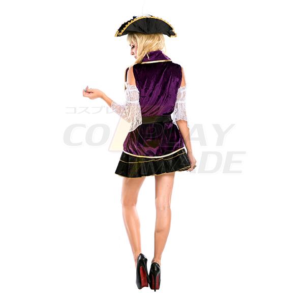 Sexy Pirate Costume Women Halloween Purple Dress