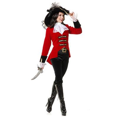 Womens Regal Pirate Lady Costume Cosplay Halloween Red Dress