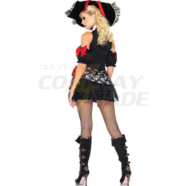 Buccaneer Babe Costume for Women Halloween Cosplay Black Dress