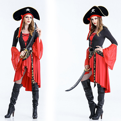 Halloween Costume Pirate Femmes Rouge Robes et Pirate Chapeau