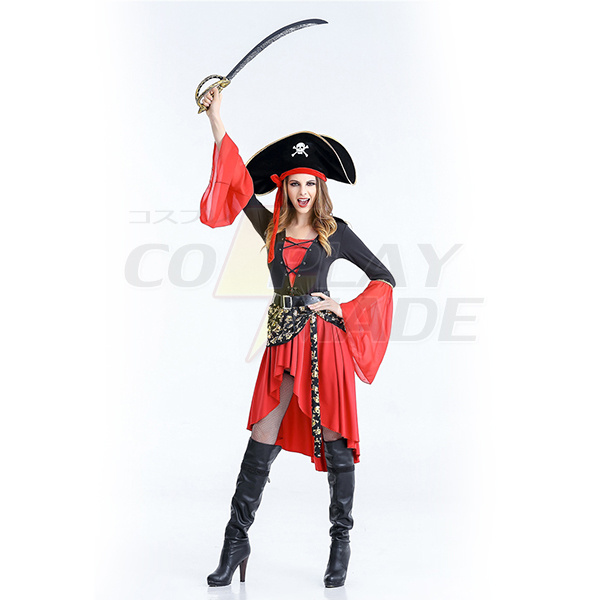 Halloween Sexy Costume Pirate Womens Red Dress and Pirate Hat
