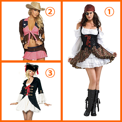 Halloween Three Color Piratería Disfraz para Mujeres Carnaval