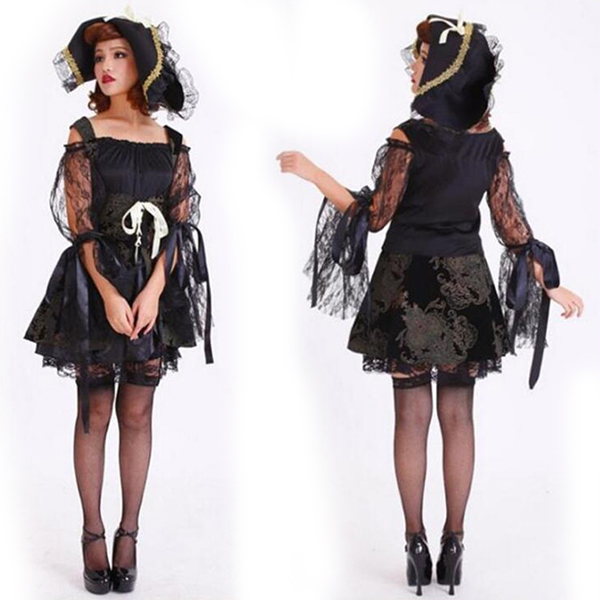 Black Sexy Lace Witch Costume Halloween Cosplay