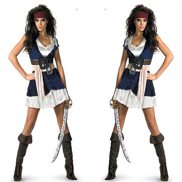 Dame Sassy Jack Sparrow Kostume Halloween Cosplay Fastelavn
