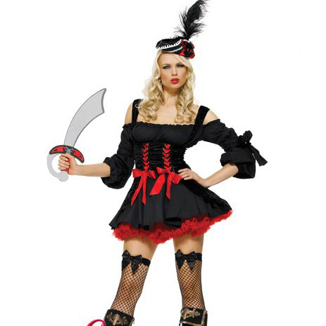 Adult Sexy Halloween Fancy Dress Pirate Costume Cosplay
