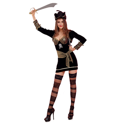 Hallolween Female Pirate Game Cosplay Party Costume With Stockings