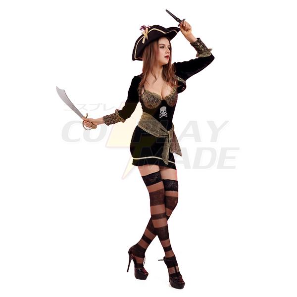 Hallolween Kvinde Sørøver Spil Cosplay Komsammen Kostume Med Strømper