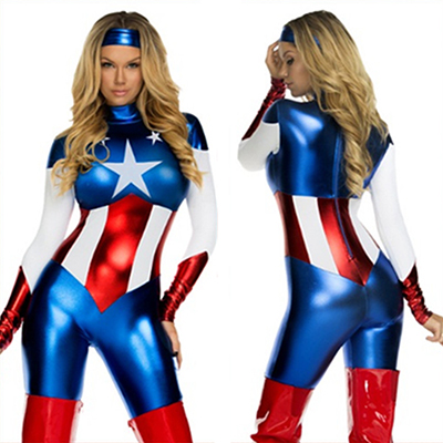 Sexy Superhero Girl Bodysuit Costume Halloween Cosplay