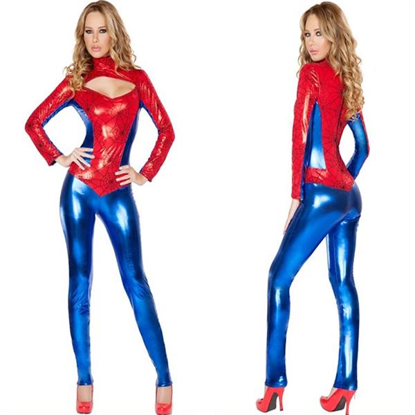 Sexet Superhero Rød Bodysuit Halloween Kostume Cosplay Fastelavn
