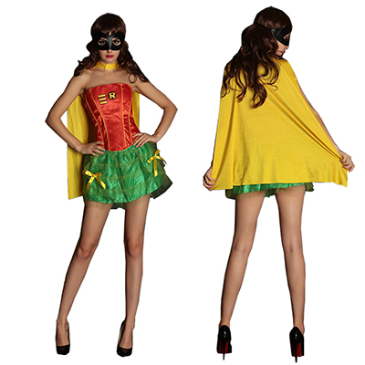 Superman Costume Pour Femmes Robes Halloween Cosplay Jaune