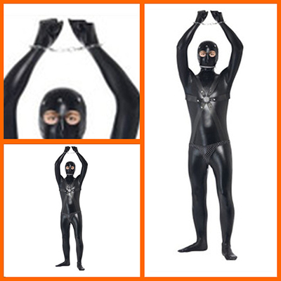 Mens Gimp Suit Bondage Rubber Fetish Halloween Costume Cosplay